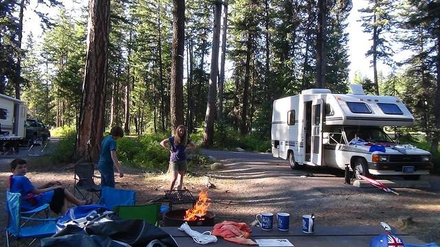 us mt travel kids camp fire site matilda vanlife matildatasca