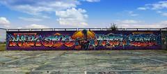 Graffiti on the disco (masko149) Tags: graffiti disco floor prodaction wall colors soligorsk 2016 tenis mask masko maskone mazzz omas amos zadelo kram mark white whiteone 149 sky