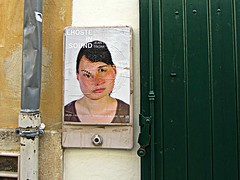 (AmyEAnderson) Tags: outdoor poster face abstract arles france provence bouchesdurhone wall circles eye mouth door green distorted contorted