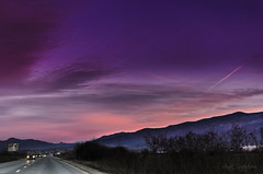 Purple sky.. because I love you  (renkata23) Tags: purplesky purple road landscape bulgaria scenery scene cars sky colors clouds colorful colours colour color cloud cloudporn cloudy sunset painting outdoor nikon nikonbulgaria mountains mountain hill hilly foothill