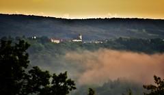 ~~ Blamont dans la brume ~~ (Jolisa) Tags: blamont village mont hill brume mist brouillard paysage landscape panorama ciel sky clocher glise aot2016 soir evening
