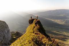 on the edge (chrisimmler) Tags: mountain bregenzerwald austria hiking sunset sun light nature gras people green blue view