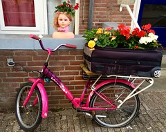 Amunds (AmundBrathen) Tags: creative 2016 july pink bicycle suitcase flowerpot head flowers amsterdam jordaan
