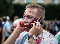 Zombie 2016 #1 (Michael Cavn) Tags: stockholm sverige 2016 europe man phone scandinavia sweden zombie blood people portrait