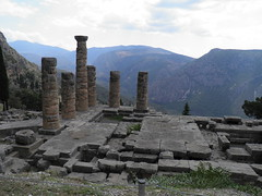 Delphi, Temple of Apollo (dr.heatherleemccarthy) Tags: temple apollo delphi greece stonework ancient mountains trees