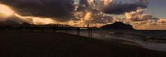 Thinking under the sunset (focusyx) Tags: palermo sicily sicilia beach romagnolo sunset spiaggia tramonto montepellegrino maremosso cavalloni wind nuvoloso vento surf gangway passerella pontile sand sabbia landscape paesaggio panoramic spiaggiadiromagnolo