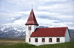 Hellnar church () Tags: church clouds glacial snow mountian