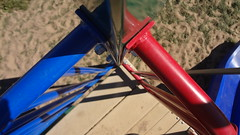 ODC August 28 - Metal (treehuggerdcg) Tags: blue red green playground metal sand odc utataminoes