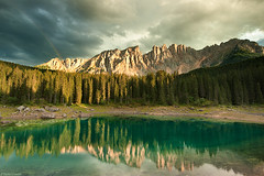 Lago di Carezza (Corsaro078) Tags: panorama lake reflection clouds lago rainbow arcobaleno dolomites dolomiti riflesso lagodicarezza landcsape