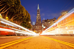Unnatural High (Transamerica Pyramid Light Trails), San Francisco (flatworldsedge) Tags: sanfrancisco street light cloud lines tarmac yellow night skyscraper traffic pyramid trails headlights clear level transamerica drifting chinesebanyan lowpov yahoo:yourpictures=yoursummer yahoo:yourpictures=yourbestphotoof2012