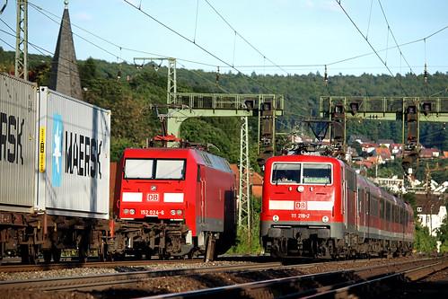 D DBS 152 024-8 & DB 111 219-2 Gemünden am Main  12-08-2012
