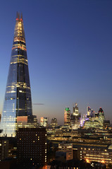 The Shard & The City (estatepictures) Tags: street city uk bridge england urban london tower heron up station architecture night high europe view skyscrapers britain swiss towers trains gb borough blocks re 20 shard gherkin 42 built southwark bishopsgate density se1 122 cheesegrater fenchurch walkie talkie leandenhall theshard