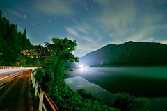 vanishing point. (scenic-scenery) Tags: longexposure light sky cloud lake reflection fog night star dc dam sony foggy sigma lightstream f4556 hsm 816mm nex5n efemount