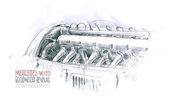 W125motorcolour (Stefan Marjoram) Tags: art car pencil mercedes sketch drawing racing goodwood autounion 2012 revival silverarrows urbansketches