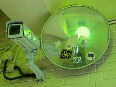 Green surveillance (Andy Worthington) Tags: london mirrors cctv hungerfordbridge corridors charingcrossstation andyworthington