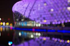 Yas Hotel Light Bokeh (Abu Dhabi, UAE) (Charn High ISO Low IQ) Tags: longexposure nightphotography light night canon eos bokeh uae abudhabi waterreflection photoshopelements glowinglight 600d yasisland yasmarina yashotel