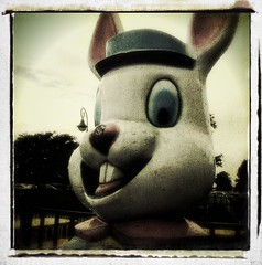 Scary Bunny (welovethedark) Tags: bunny fun myrtlebeach southcarolina iphone beachtrip broadwayatthebeach iphonecamera iphonecameraapps carnivalanimals august2012 creepyanimalstatues largefiberglassanimals