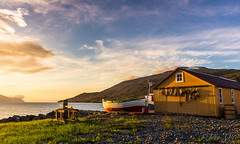 Fishery / Hlarendi (Jonas Ottos) Tags: ocean sunset vacation mountains landscape boats pier iceland north atlantic eyjafjrur feralg capstan fishingstation slsetur canon60d grenivk sigma1750 sumar2012