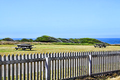 Pick. (Robem) Tags: ocean fence landscape fences tables pointcabrillo minimalskynature