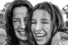 Mother & Daughter (Pjotre7 (www.maartenvandevoort.nl)) Tags: family girls portrait bw white black holland netherlands beautiful beauty smile dutch fun happy photo women pretty teeth joy models daughter mother dimple laugh lachen portret zwart wit moeder brabant dochter meisjes 2012 tanden vrouwen pret a77 zw happyness vrolijk plezier vrolijkheid moergestel kuiltje pjotre7