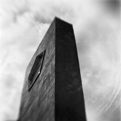 Monolith (robert schneider (rolopix)) Tags: blackandwhite bw blur 6x6 film monochrome sign mediumformat square ma blurry closed kodak empty massachusetts toycamera newengland brownie salisbury hawkeye chrysler mass expired monolith dealership outofbusiness plasticcamera vp outdated 620 bhf browniehawkeyeflash flippedlens outofdate verichromepan verichrome 120620 robertschneider autaut believeinfilm rolopix
