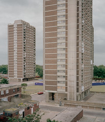 nightingale estate 2002 (chrisdb1) Tags: summer london vintage mediumformat community cityscape estate rooftops homeless apocalypse dump streetlife rangefinder cctv before demolition stairwell staircase highrise council fujifilm blocks hackney 6x7 lecorbusier clapton dalston towerblock desolation repairs daimler e8 n16 eastend e5 minimetro nightingale alienation dystopia asbestos pembury refurbished photorealism plaubel londonist homerton blowdown councilhousing fuji160nps chrisdorleybrown repairsandalterations