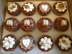 Baby Shower Cupcakes (Cakes By Jacques) Tags: new baby brown coffee born cupcakes bottle pin teddy chocolate buttons nappy cream blocks elegant booties babyshower neutral cakesbyjacques