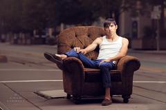 split (tmbgodman) Tags: portrait urban fashion model chair nikon unique handsome gritty strong asianamerican thin heavy toned processed tone malemodel lazboy d800 calumet agile sinewy strobist modifer