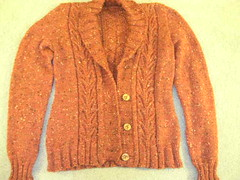 Starksy, finished! (Kyrissaean) Tags: sweater potter cables cardigan worsted newt knitty kpkchc