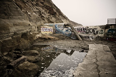 "Beachfront Graffiti (""Soup"") Tags: sanfrancisco california cliff storm reflection water graffiti sand view pipes tags joe adventure drain explore oceanbeach lobster spraypaint rank fortfunston beachfront dogbeach urbex buer"