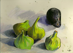 Green Figs and Avocado (Marcia Milner-Brage) Tags: california autumn stilllife fruit figs brushpen neocoloriiwatersolublewaxpastels marciamilnerbrage