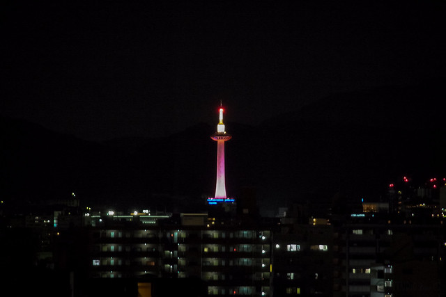 Kyoto Tower Pink Lightup 2012