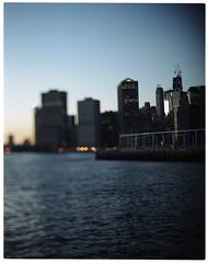 river, skyline (aleczab) Tags: sunset skyline kodak manhattan 4x5 wtc 160vc portra speedgraphic pacemaker aeroektar