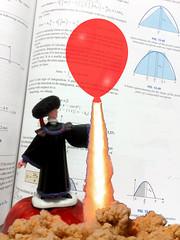 What goes up ... (byzantiumbooks) Tags: redballoon balloon professor werehere hereios