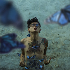 Butterflies (Sketchless Phorography) Tags: butterfly butterflies blue stomach hole anxiety attack panic selfportrait selfish myself self autorretrato autoportrait backyard challenge tattoos