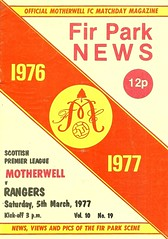 Motherwell v Rangers 19770305 (tcbuzz) Tags: motherwell football club fir park programme premier league first division