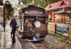 Waiting to depart (koaysusan) Tags: victoria puffingbilly steamrailway puffingbillyrailway trainstation locomotive steam drizzle reflection