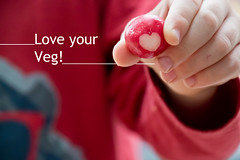 Love your Veg! (4of365) (Reckless Times) Tags: radish vegtable veg red kids heart love boy hand hold food raw text type