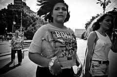 Girls (stimpsonjake) Tags: nikoncoolpixa 185mm streetphotography bucharest romania city candid blackandwhite bw monochrome girls crossingthestreet