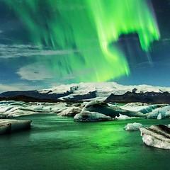 jokulsarlon (danielhuiting) Tags: iceland jokulsarlon jkusarlon northern lights blue green water iceberg glacier floating long exposure night photography