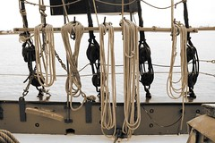 Cordage (innpictime  ) Tags: river thames gravesend kent 514458980371011 ondeck lines cordage ropes blocktackle rigging sailingbarge sbhydrogen topsail 1906 123640 imo235123455 sepia