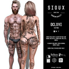SIOUX - DCLXVI TATTOO (Ronny Bekes) Tags: sioux tattoo slink signature maitreya belleza omega ink mesh