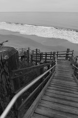 Steps to the seashore (rarefruitfan) Tags: beach stairs elrefugio santa barbara black white bw