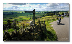 Footpath to Eyam (Descended from Ding the Devil) Tags: bmwf800r barrelinn bretby derbyshire bikeride clouds countryside drystonewall filds gate motorbike motorcycle photoborder pub road signpost sky smartphone view vista peakdistrict