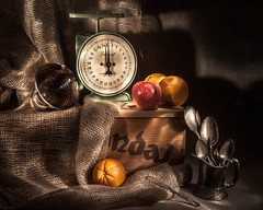 ODC - Lighted By Flashlight (lclower19) Tags: flashlight lightpainted scale burlap odc oranges apple silver spoons pitcher wood box stilllife