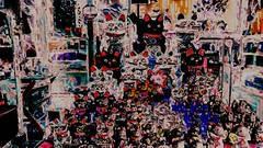 Lucky cats  (Bamboo Barnes - Artist.Com) Tags: luckycats japan shop cat  asia oriental luck red purple yellow green grey vivid bamboobarnes surreal weird black photo painting digitalart
