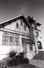 Exa 1C Rialto First Christian Church () Tags: vintage retro classic film camera losangeles california riverside history west coast architcture eastgerman ddr gdr exa dresden slr 35mm black white bw kodak tmax m42