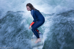Eisbachwelle in Munich (HuNosBlues) Tags: mnchen eisbach eisbachwelle surfer surfing wave water munich surfergirl board lifeonboards city surfboard waves riversurfing