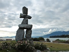 Inukshuk - Vancouver (phil_king) Tags: american bay beach british canada coast coastline columbia english evening inukshuk inuksuk monument native ocean pacific sculpture sea seaside stone sunset vancouver
