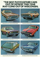 1972 American Motors Range (coconv) Tags: pictures auto door old 2 classic cars hardtop car station sedan vintage magazine ads advertising wagon cards photo flyer automobile post image photos antique album postcard 4 ad picture images motors advertisement vehicles photographs card photograph american postcards gremlin vehicle hornet autos collectible amc rambler ambassador collectors 1972 brochure range 72 amx automobiles dealer matador prestige javelin sportabout